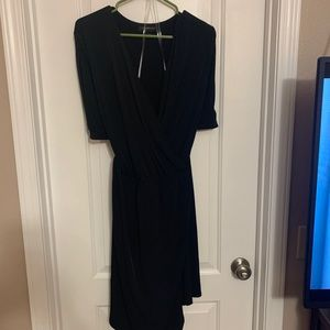 Black faux wrap dress with cutout shoulders